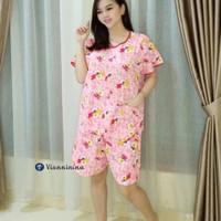 Babydoll Vianninina Teddy Adem Nyaman Baju Tidur Piyama Pendek - Merah