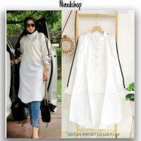 Baju Tunik List Hitam Katun Import/Fashion Polos Putih Wanita Terbaru