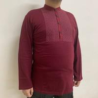 Baju Koko Katun Muslim Long Tangan Panjang Big Size Marron Honeycomb - XL