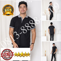 Kaos Polo Shirt Polos Hitam kerah abu/kaos kerah pria/baju kaos kerah