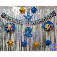Paket Dekorasi Ulang Tahun Simple Tema BABY SHARK / Tanpa Tirai /