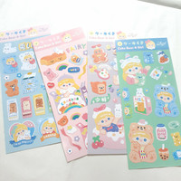 Sticker Dekorasi Milkjoy Cake Bear & Girl Lucu Bahan PVC Anti Air