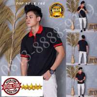 Kaos Polo Shirt Polos hitam kerah merah/kaos kerah pria/baju kerah