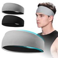 Bandana Olahraga Fitness 2 Warna headband Bahan Katun - Hitam