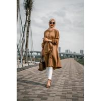 Baju Tunik Jessy Atasan Muslim-Pakaian Wanita Menyusui-Brown Medium