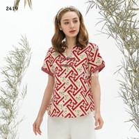 Baju Batik Modern / Batik Cheongsam / Baju imlek / merah / katun /1120
