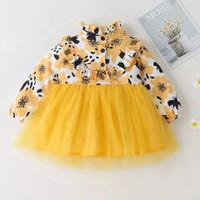 Dress bayi / anak perempuan bunga bunga yellow lengan panjang cantik