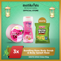 [Mustika Ratu] Bundling Rose body scrub 200ml & body splash rose 135ml