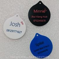 (D3) Liontin kalung bandul tag nama custom anjing kucing hewan akrilik