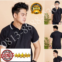 Kaos Berkerah / Polo Shirt Polos / Polo Shirt Cowok Hitam List Putih
