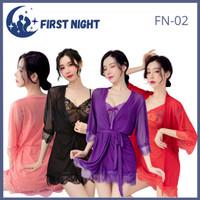LINGERIE SEXY / BAJU TIDUR DEWASA LACE 1SET (DRESS ,CD,KIMONO) FN-02 - Ungu