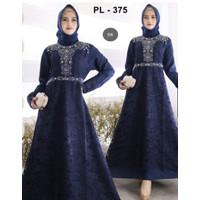 Baju Gamis Dress Pesta Muslimah Brukat Kombi Mute HQ Kode 375