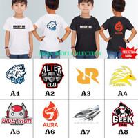 baju kaos anak FREE FIRE EVOS AURA RRQ / kaos distro anak free nama