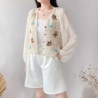 Hanny Blouse Cardigan - Atasan Outer Wanita Brokat Knit Mix Chiffon