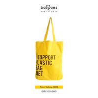 Tas Tote Bag Lipat Wanita Pria Diet Kantong Plastik Bahan Baby Canvas - Kuning