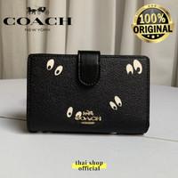 (100% ORIGINAL) COACH x DISNEY Medium Corner Zip Wallet Eyes Black