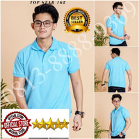 Kaos Polo Shirt Polos Biru muda / Kaos Kerah / Kaos Polo / Baju Kerah