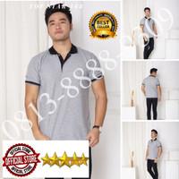 Kaos Polo Shirt Polos Abu kerah hitam/kaos kerah pria/baju kaos kerah