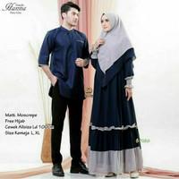 Couple Hanna Hijab Set, Baju Sarimbit Lebaran 2021 Model Elegan Murah - B, Koko XL