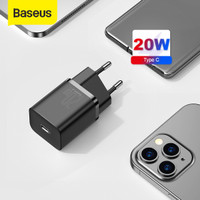 KEPALA CHARGER TYPE C PD BASEUS QUICK CHARGER 20W IPHONE 12 - Hitam