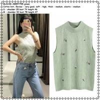 AB857758 Baju Atasan Tank Top Rajut Wanita Blouse Korea Import Green