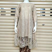 Kebaya Tunik Tile Modern Wanita Muslim Big Size LD 120 Seragaman Pesta - cream, Atasan M s/d 3L