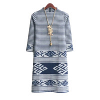 Atasan Wanita Dress Tenun Batik Ethnic Blanket Mix Lurik