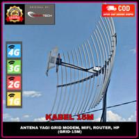 Antena Yagi Grid Penguat Stabilitas Sinyal HP Modem 4G+ H+ 3G 2G E 15M