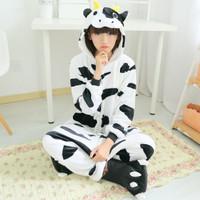 Piyama Baju Tidur Wanita Kostum Motif Sapi Lucu Milk Cow Ukuran Small