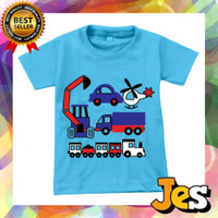 Baju Atasan anak laki-laki mix mobil biru usia 1-10 Tahun