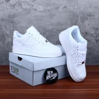 Sepatu Nike Air Force One 1 All Full White Putih Polos Unisex