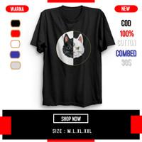 Baju Kaos Tshirt Pria Bergambar Lengan Pendek Combed 30S Kucing Hitam