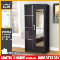 Lemari Pakaian 2 Pintu hitam + cermin