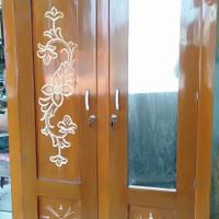 lemari kayu mahoni 2 pintu