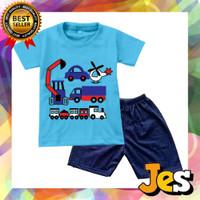 Baju Stelan anak laki-laki mix mobil biru / kaos dan celana usia1-10th - 1thn