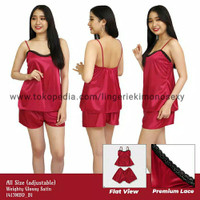 tanktop baju tidur setelan celana hot pants wanita satin merah maroon
