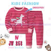 Baju Tidur Piyama Anak Perempuan Panjang JW258 Unicorn Pink Bordir