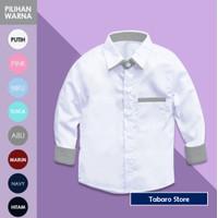 Kemeja Putih Polos Untuk Anak Laki Laki Usia Tk-SD Model Kerah Tegak