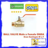 Ball valve M x F 1 1/2 inch Onda stop kran male female kuningan 1,5
