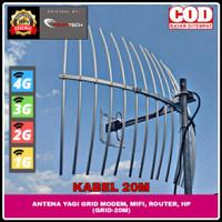 ANTENA YAGI GRID PENGUAT SINYAL HP & MODEM, MIFI 4G+ 4G H+ 3G 2G K20M