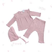 Ohbabydays   Baju Anak Perempuan   Ready Stock   Coco PJ Set + Bonnet - Pink, 6-9 bulan