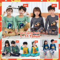 BB Piyama Anak Laki laki Perempuan Setelan Baju Tidur 1-11 Thn Set 2