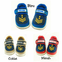 Sepatu bayi laki Arrow bordir jeans converse bunyi tidak licin - Biru, 6-9 Bulan