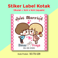 STIKER LABEL SOUVENIR PERNIKAHAN STICKER WEDDING SAVE THE DATE SQUARE