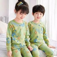 Piyama anak / Baju tidur anak model kekinian / Stelan panjang anak - DINO EGG, S