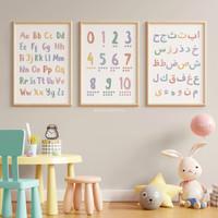 Poster Edukasi Balita - Macaron ABC 123 Hijaiyah Preschooler Wall Art