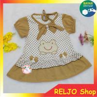 Baju bayi Perempuan Dress motif Kodok usia 0-12 bulan