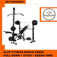 Bangku Fitness Gym Bench Press + Pull Down Paket Stick + Beban 40kg