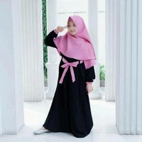 Baju Muslim Gamis Anak Perempuan Usia 7 - 9 Tahun plus kerudung wanita