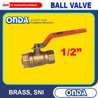 Ball Valve 1/2 inch Kuningan (BRASS) merk Onda